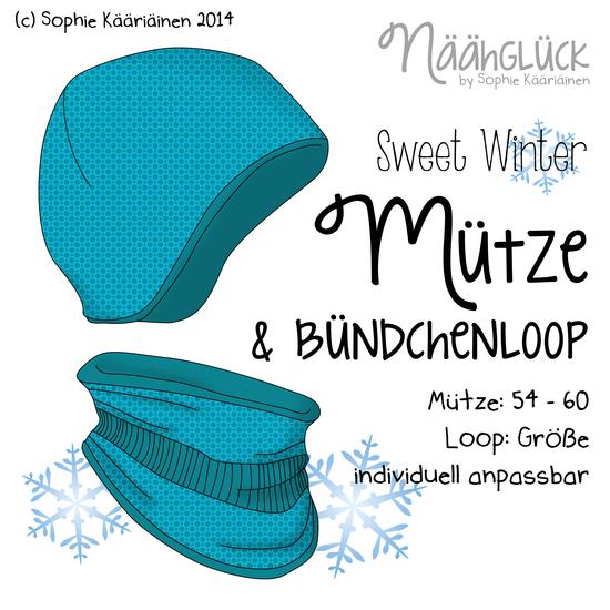 Produktfoto für Schnittmuster Sweet Winter Mütze & Bündchenloop von Näähglück - by Sophie Kääriäinen