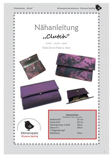 Produktfoto für Schnittmuster Clutch von kleinerspatz