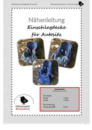 Produktfoto für Schnittmuster Einschlagdecke Autositz von kleinerspatz