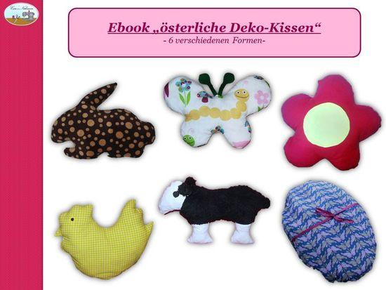 Dieses Ebook beinhaltet eine ausführliche, bebilderte Schritt-für-Schritt Anleitung sowie ein Schnittmuster zum ausdrucken.  Mit diesem Schnitt kannst du schnell und einfach ein paar schöne Kissen (nicht nur) zu Ostern zaubern.  Es enthält 6 Schnittmuster für folgende Motive:  - Blume  - Hase  - Lamm  - Huhn  - Osterei  - Schmetterling  Zum Nähen eignen sich hauptsächlich undehnbaren Stoffe wie z.B.  Baumwolle, Jeans und Kunstleder. Aber auch Frottee, Fleece,  Wellnessfleece oder Nickistoffe