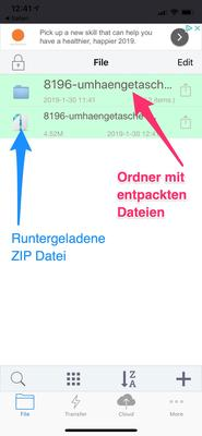Entpacktes ZIP Archiv in Apple iOS